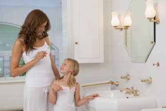 Mom and daughter in bathroom