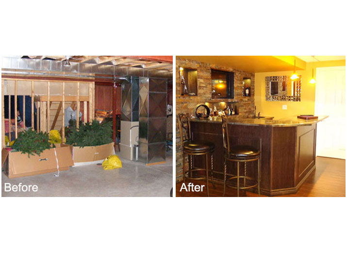 Before & after maple bar with ledge stone accent wall