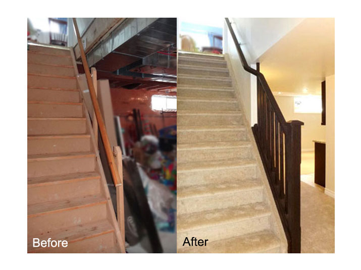 Before & after basement staircase