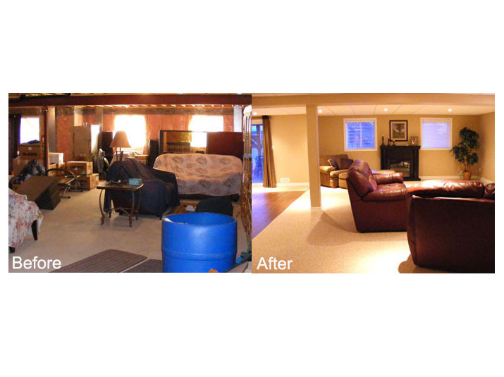 Before & after basement living room