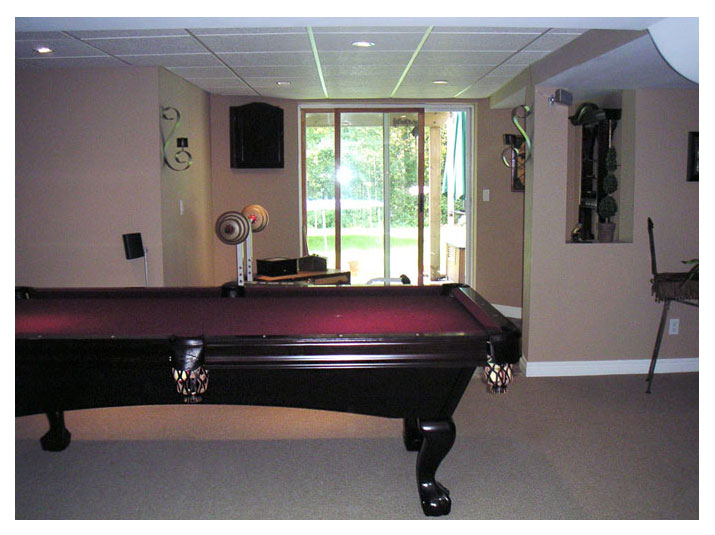 Basement pool table area