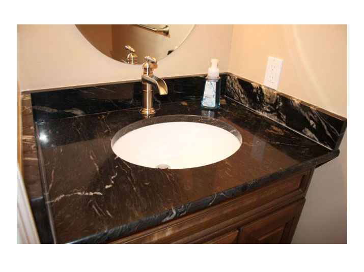 Granite countertops & backsplash for bathroom vanity