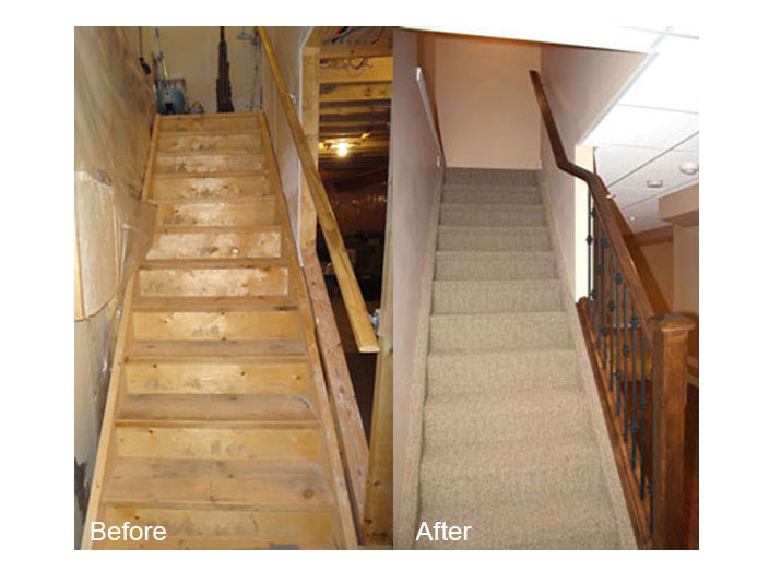 Before & after basement stairs