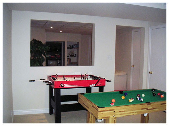 Recreational room in basement