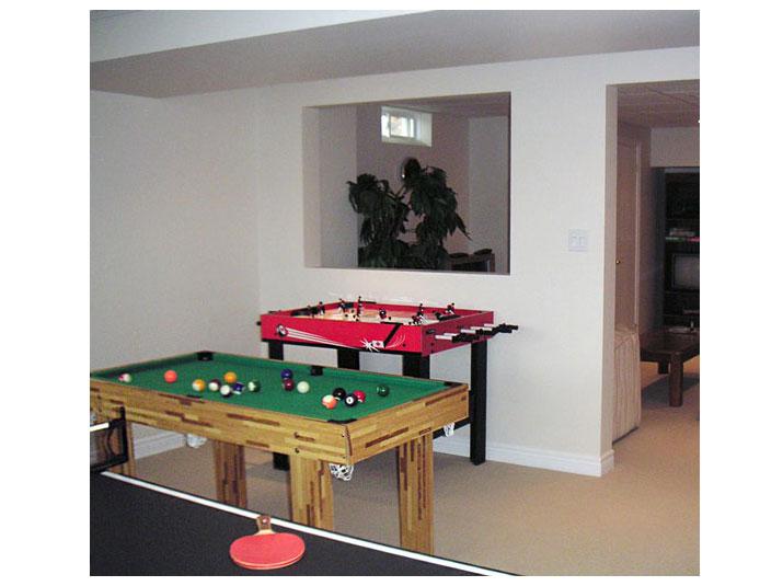 Recreational room in basement