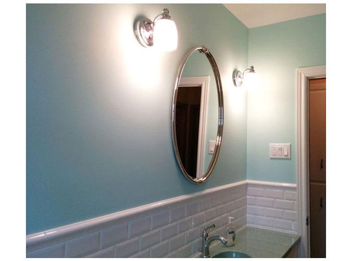 Subway tiled bathroom vanity backsplash