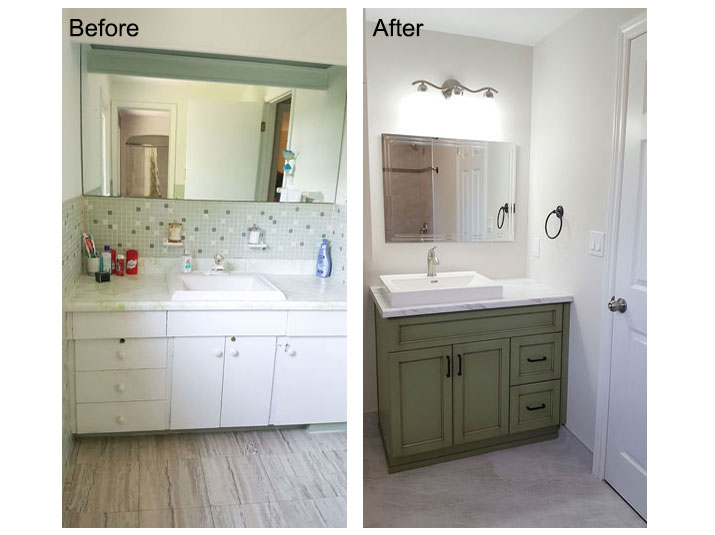 Before and after green bathroom vanity