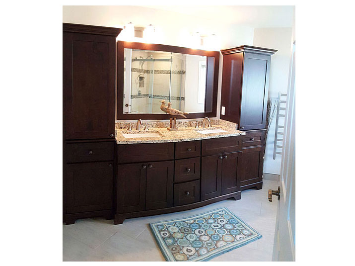 Chestnut shaker vanity and linen towers