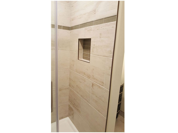 Glass Mosaic tile shower accents