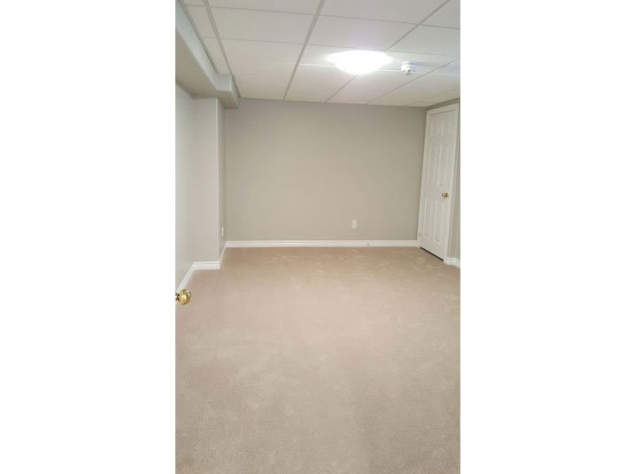 Guest bedroom in basement with plush carpet