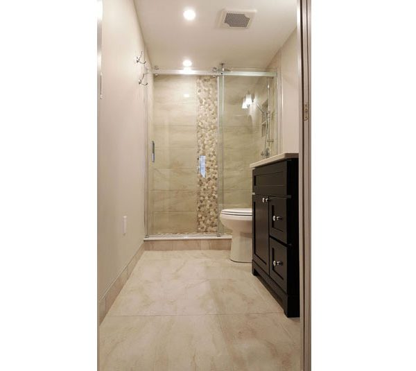 Porcelain tile floor and shower surround