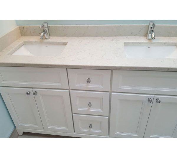 White double sink vanity with quartz countertop
