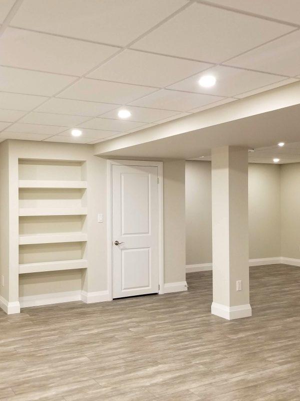 Basement with vinyl plank flooring