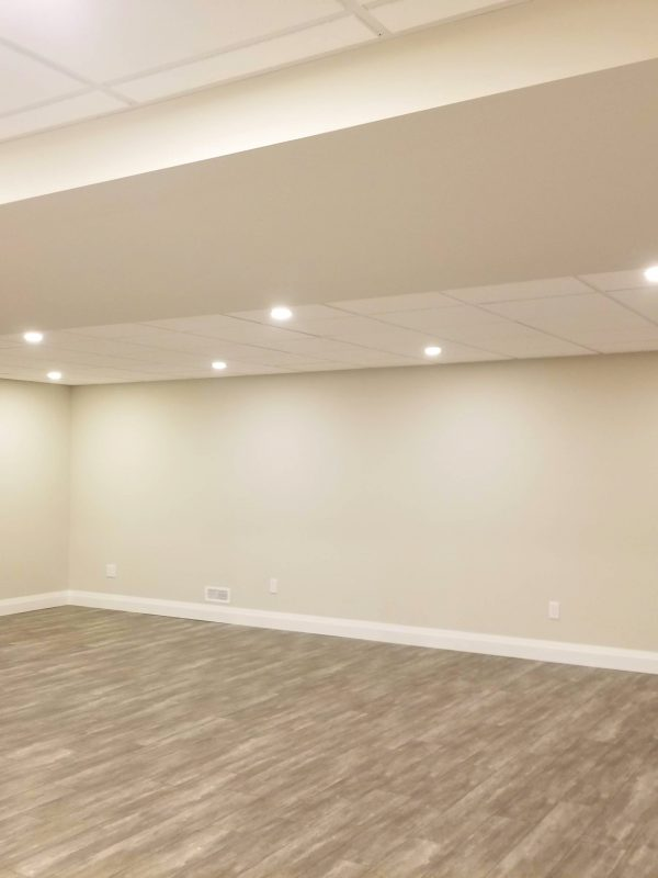 Suspended ceiling and potlights in basement