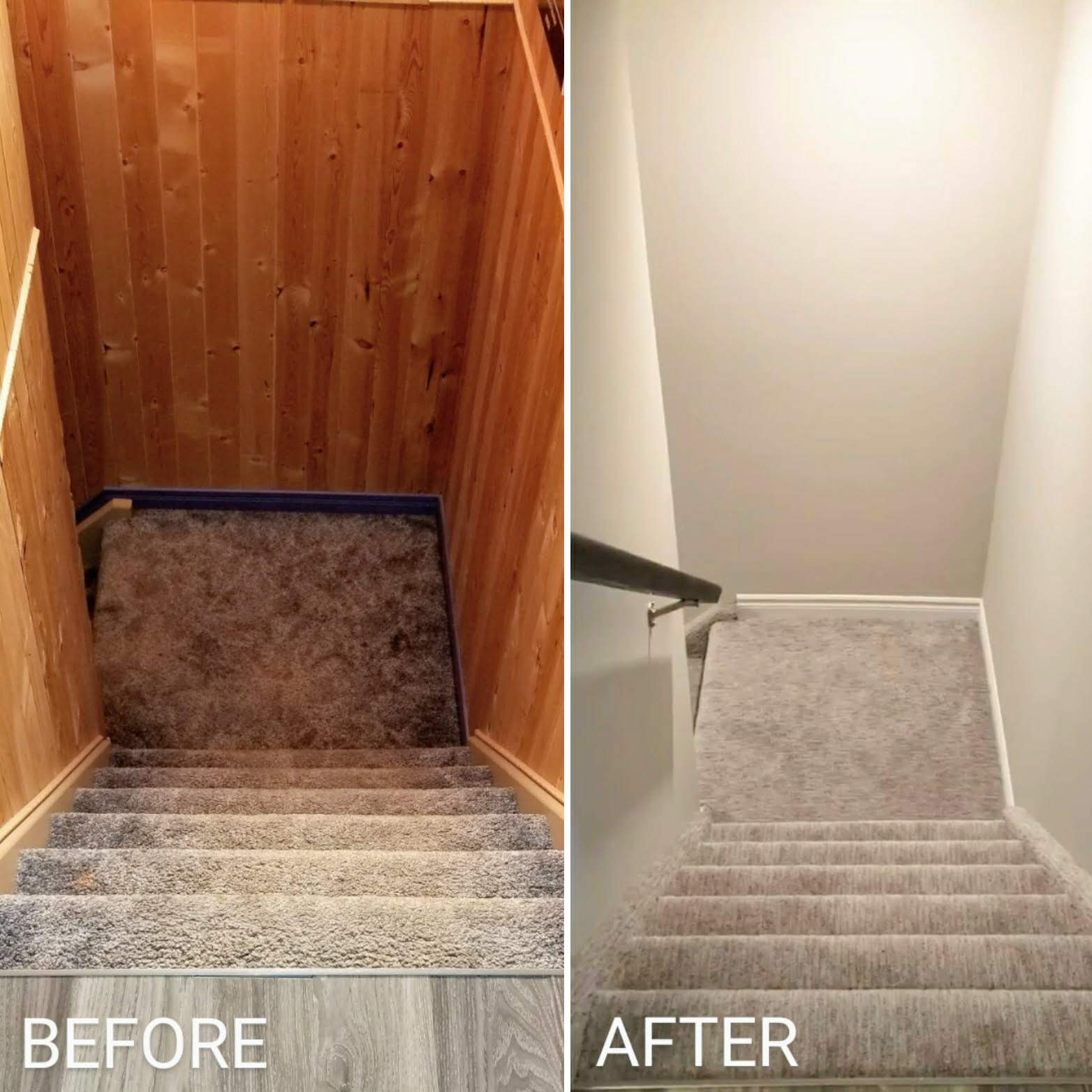 Before and after renovating basement staircase by Germano Creative Interior Contracting Ltd.