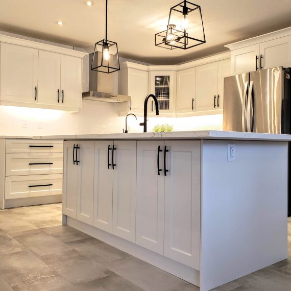 White on white kitchen remodel by Germano Creative Interior Contracting Ltd.