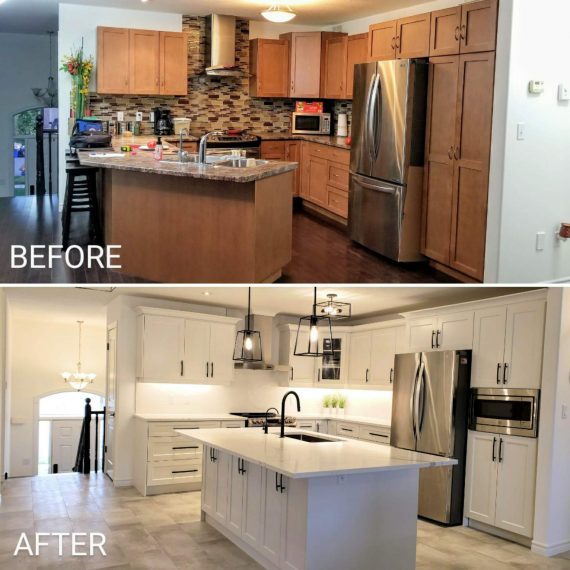 Before and after kitchen remodel comparison