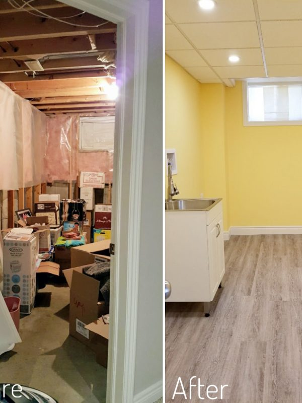 Before and After Basement Laundry Room
