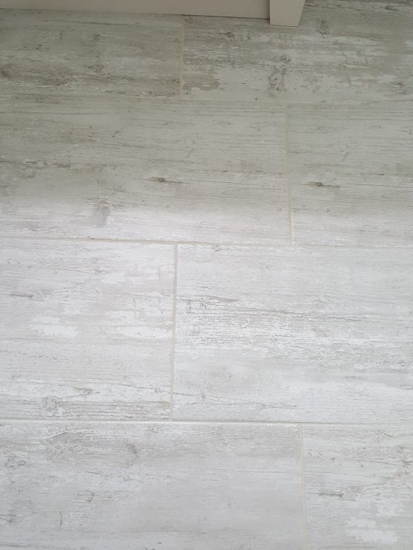 Porcelain tile flooring