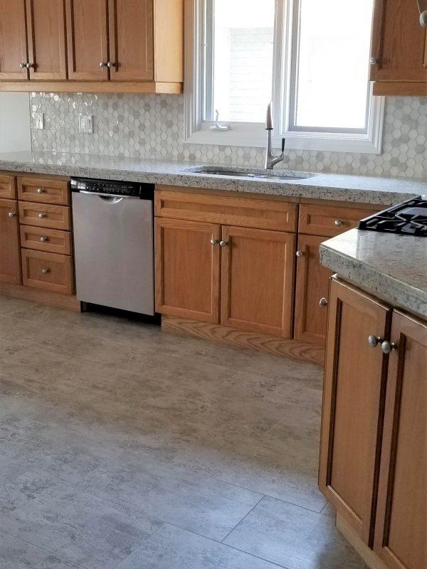 Hexagon Tile Backsplash and White Granite Countertops