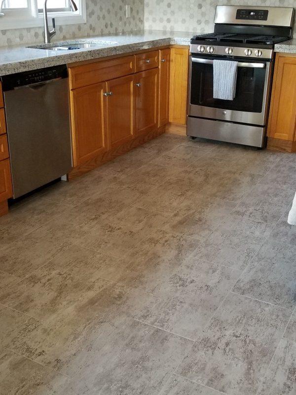 Luxury vinyl tile kitchen flooring
