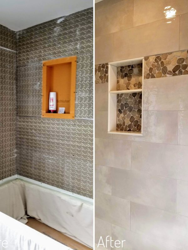 Before and After Shower Niche