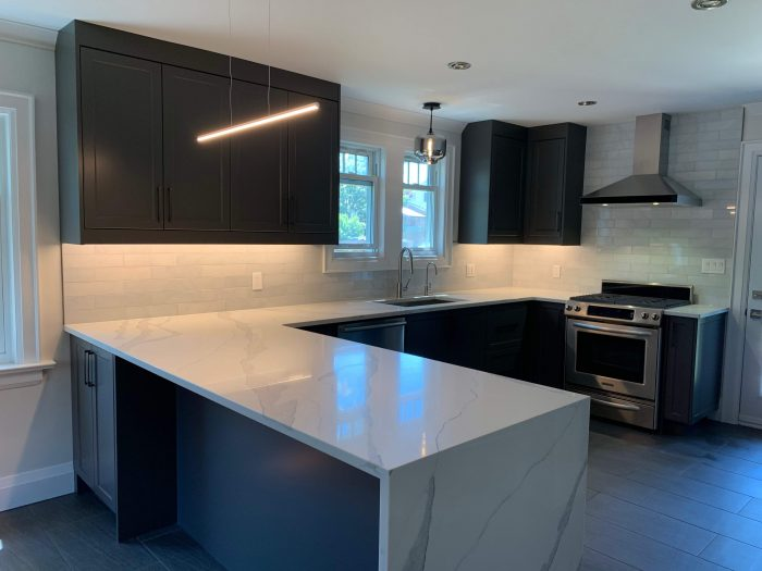 Countertop overhang for bar style seating