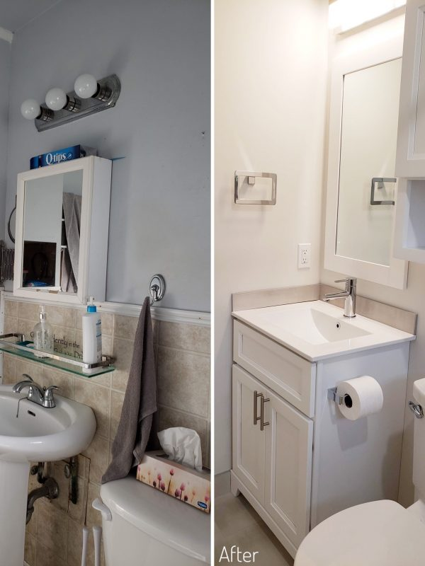 Before and After Bathroom Vanity