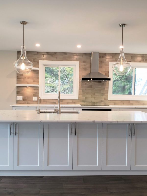 White kitchen and quartz countertops