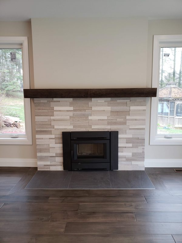 Wood burning fireplace installed