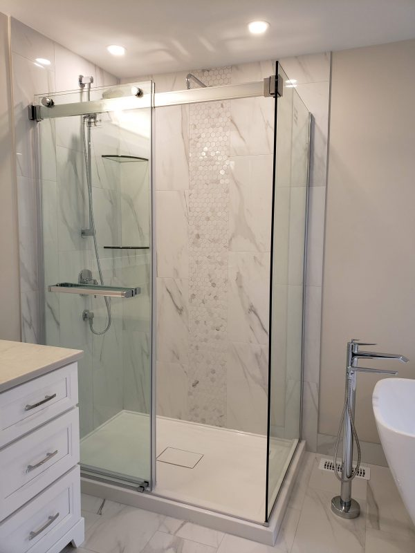 Porcelain tile shower surround