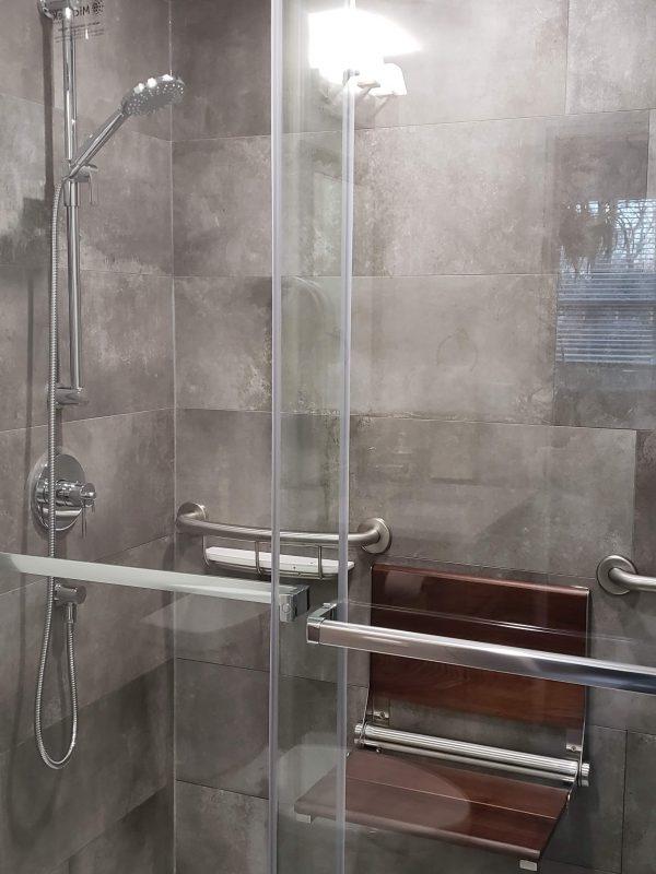 Sliding glass door shower