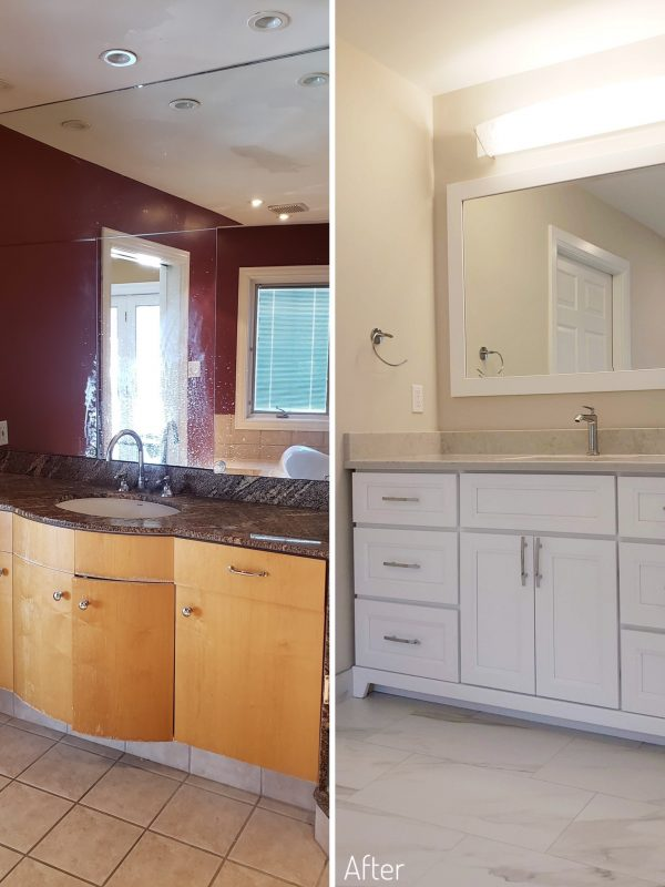 Before and After Ensuite bathroom vanity