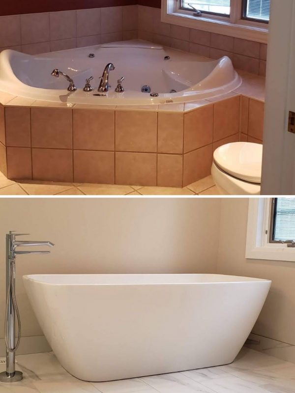Before and After Ensuite bathtub