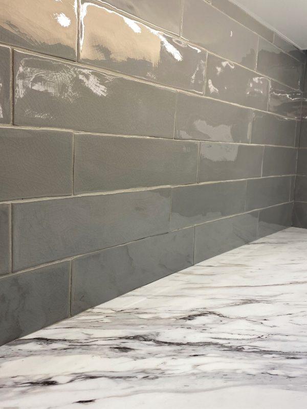 Craquel light grey 3x12 glossy tile backsplash