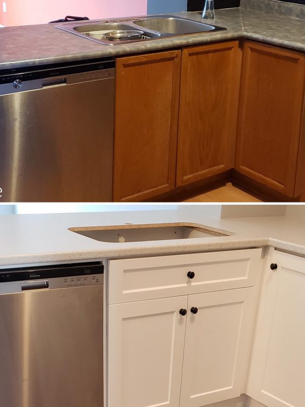 Before and After Kitchen countertop