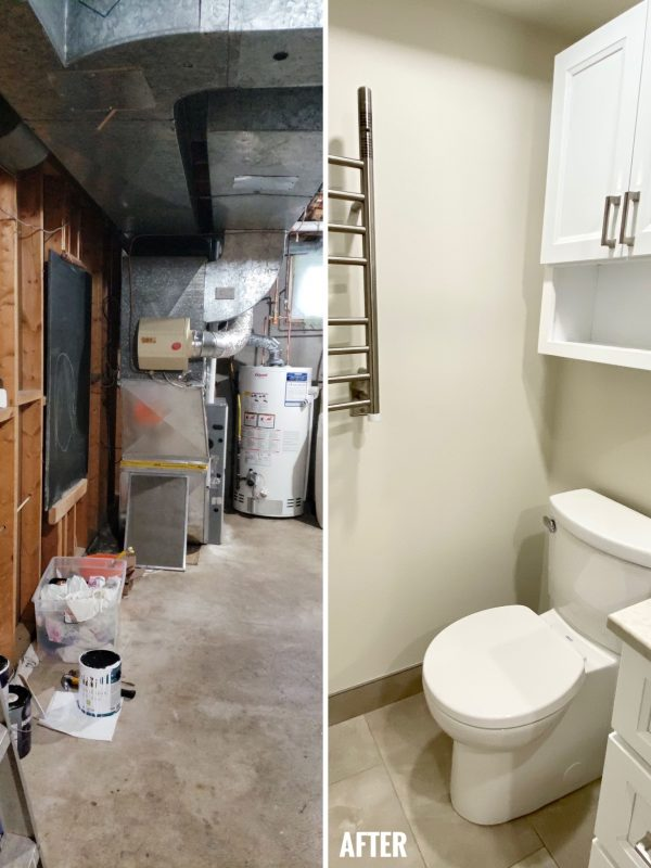 Before and After Basement Washroom