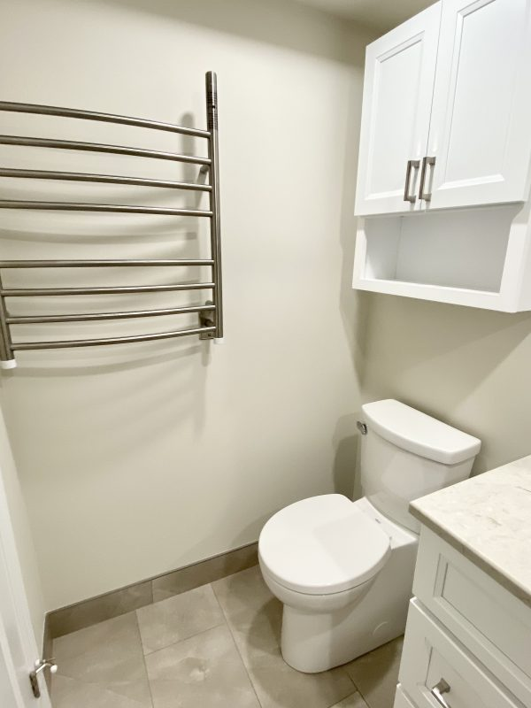 One piece toilet with white storage cabinet