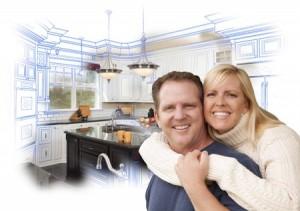 Couple happy with custom kitchen design