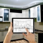 Interior layout plan on tablet