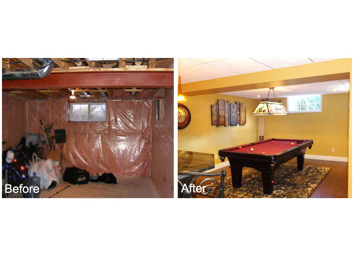 Before & after basement pool table area
