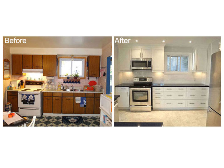 Before & after white kitchen