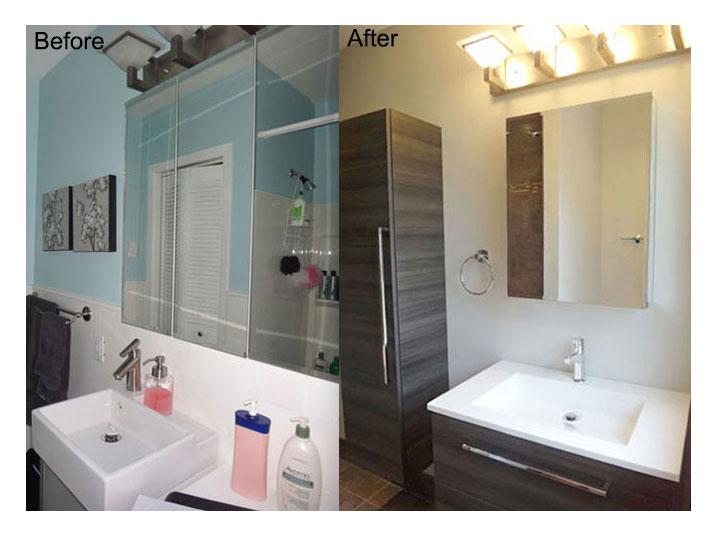 Before & after bathroom vanity