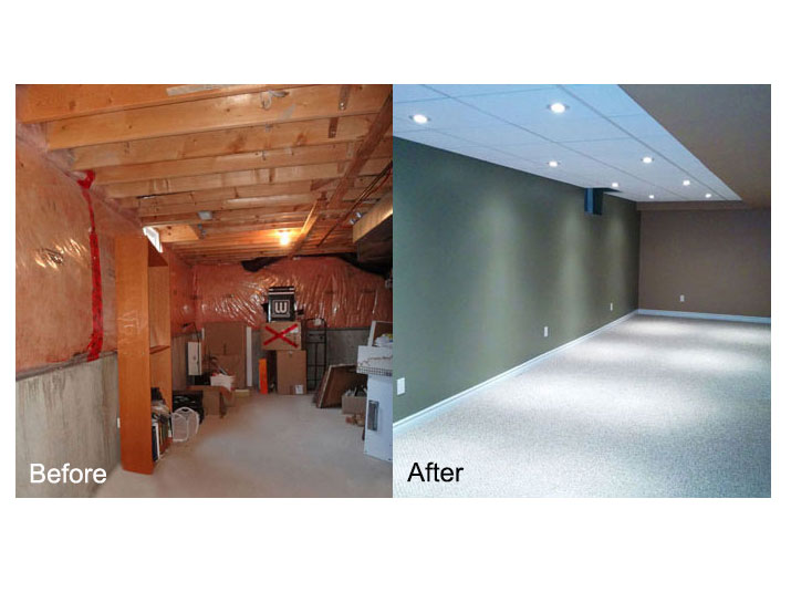 Before & after basement family room space
