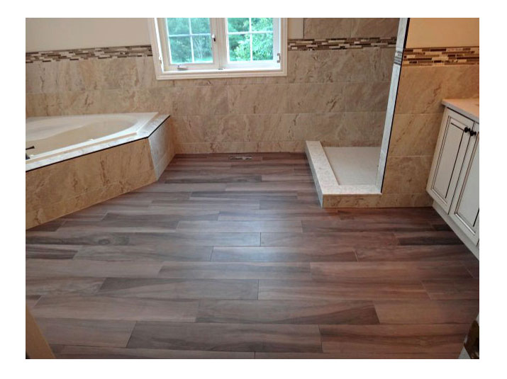 Wood plank styled porcelain tiles