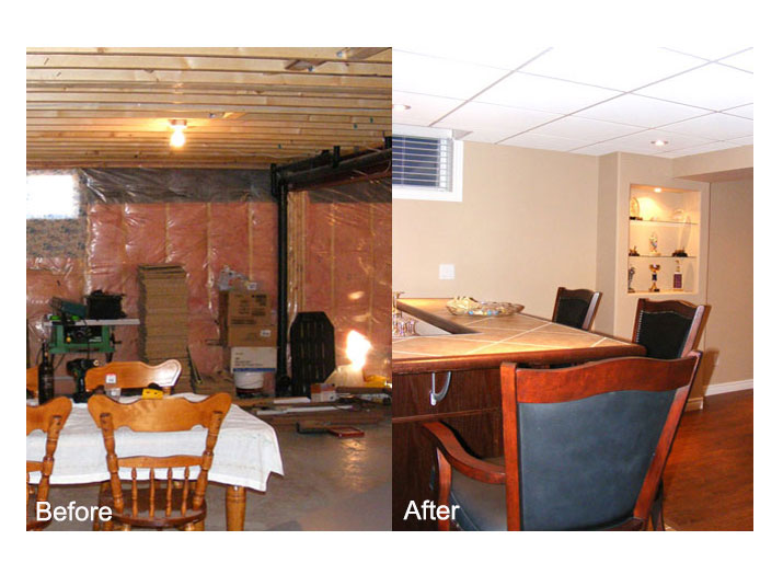 Before & after basement bar area