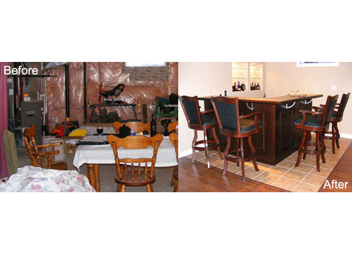 Before & after basement bar