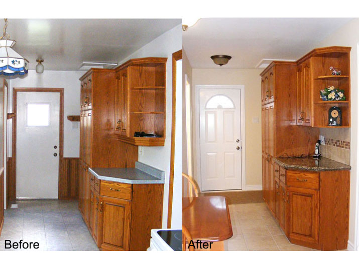 Before & after granite countertops and new finish carpentry in kitchen