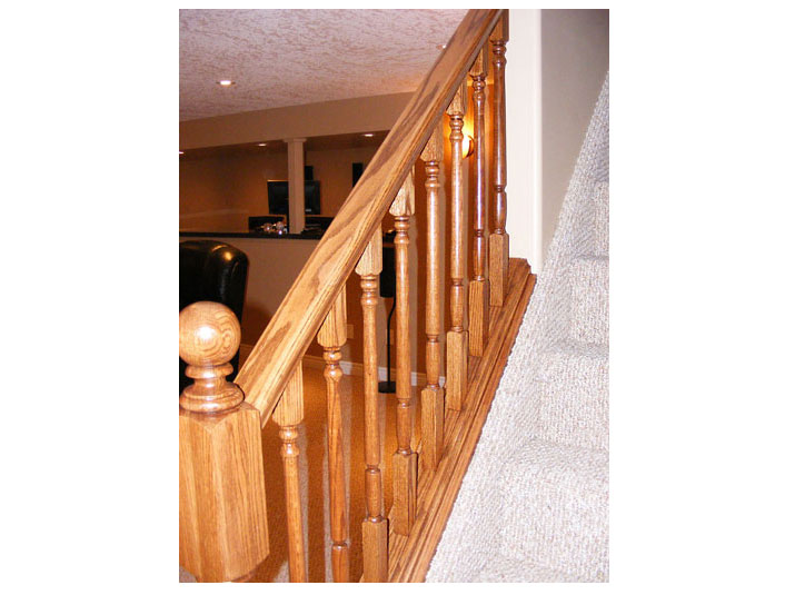 Oak railing for basement stairs