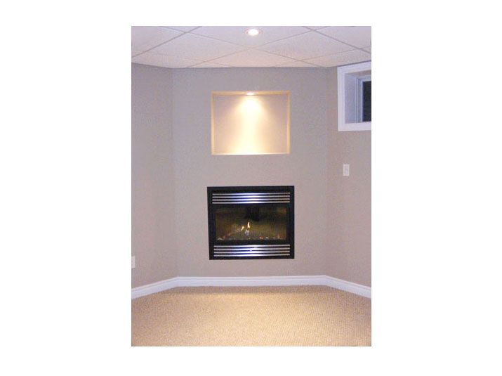 Fireplace & niche with accent lighting